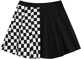 WDIRARA Women's Checked Two Tone High Waist Pleated Casual Skater Mini Skirt