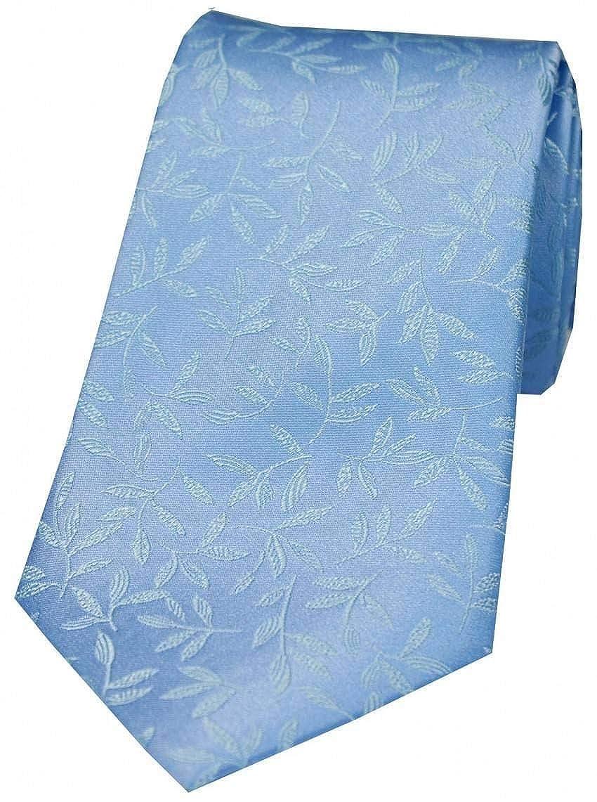 David Van Hagen Mens Leaf Jacquard Silk Tie Sky Blue