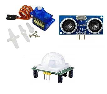 Robocraze SG90 Servo Motor, PIR Sensor and Ultrasonic Sensor | Arduino  Project