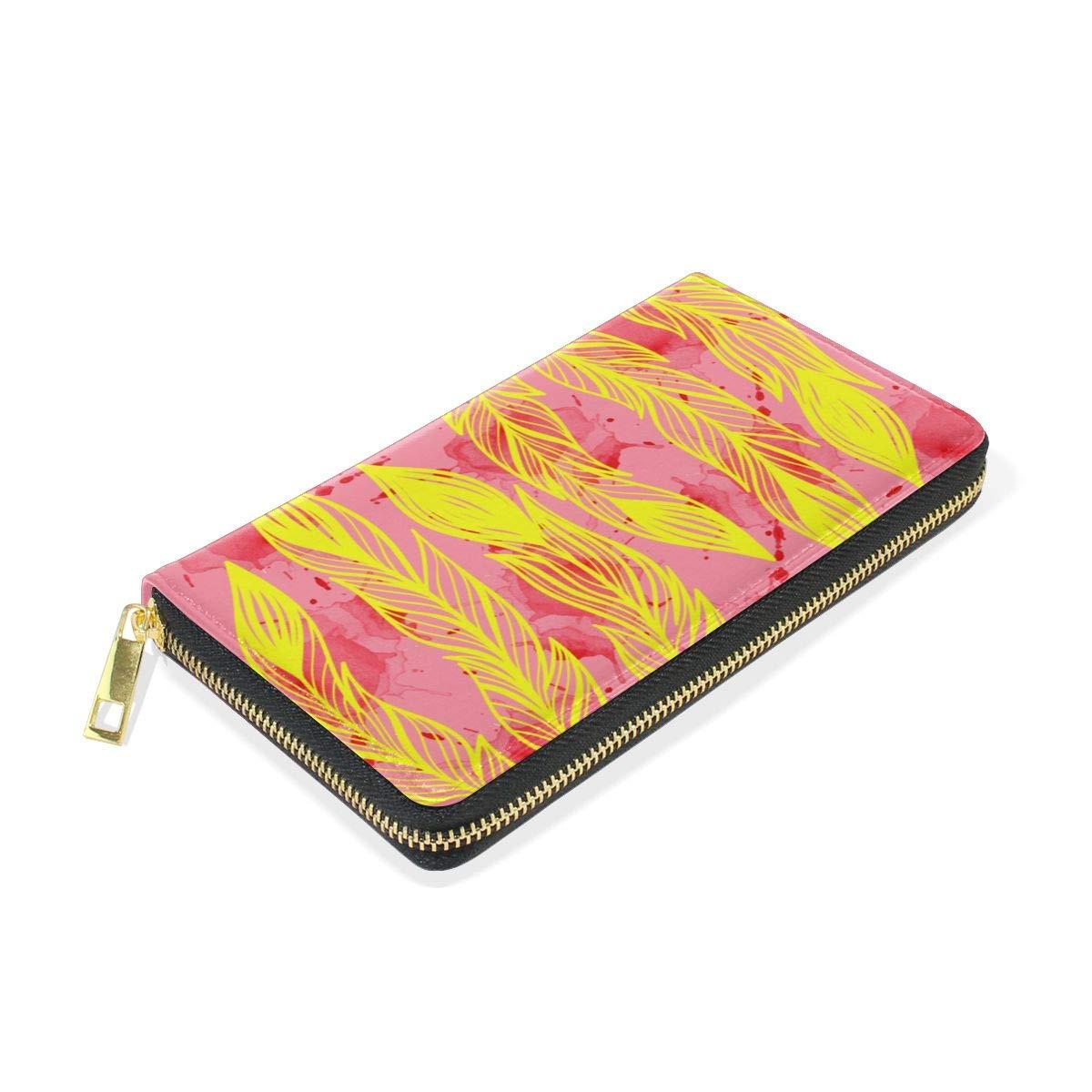 Caesar Melville Feather Arrow Coin Purse Canvas Bags Leather Long Wallet Handbag