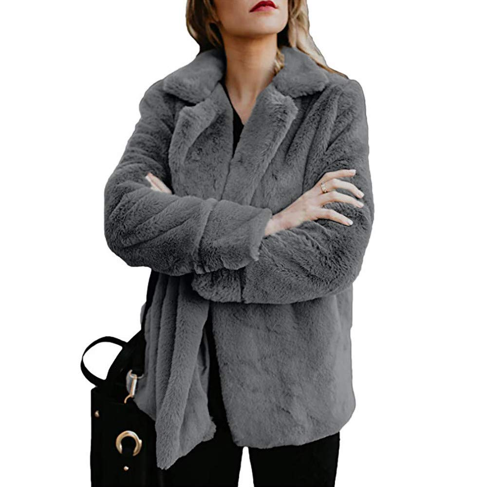 TIFENNY Women's Fleece Winter Warm Casual Open Front Jacket Coat with Pockets Outerwear Solid Outwear