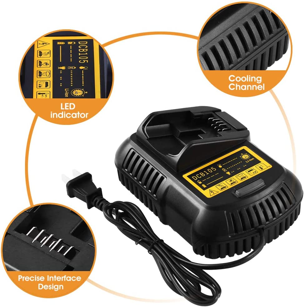 Replacement for DCB107/ DCB112 12V//20V MAX Lithium Ion Battery Charger for Dewalt Lithium Ion DCB101 DCB115 DCB107 DCB105 DCB205 DCB203 DCB204 DCB206 DCB201 DCB120 DCB127