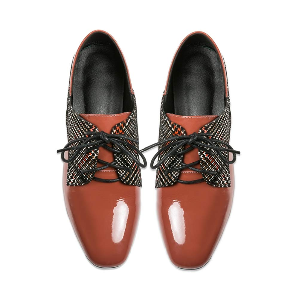 GIY Womens Square Toe Oxford Loafer Shoes Plaid Partten Chunky Mid Heel Lace Up Dress Oxfords Pumps Shoe
