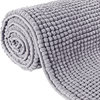 Lifewit 70.9' x 25.6' Bath Runner Rug Area Chenille Mat Rugs Bathroom Living Room Kitchen Machine Washable Shag Rug Grey