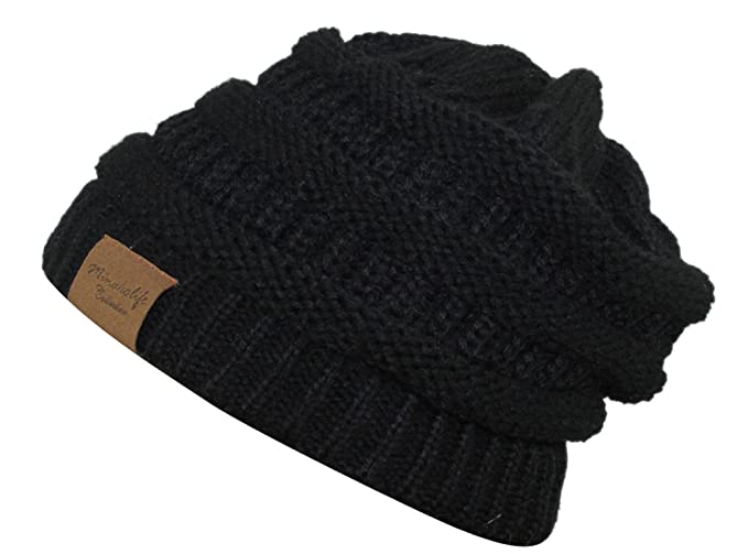 MINAKOLIFE Soft Slouchy Hat Extra Long Cable Knit Beanie Cap Black ... 991fe9e3526