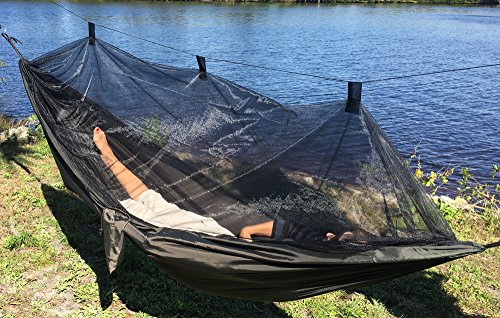 Mosquito Net Hammock - Extra Strong Ripstop Nylon Camping Hammock - Reversible, Compact, Lightweight & Portable with Bug Free Netting - Great for Travel, Beach or Yard - by Krazy Outdoors (Dark Green) Image