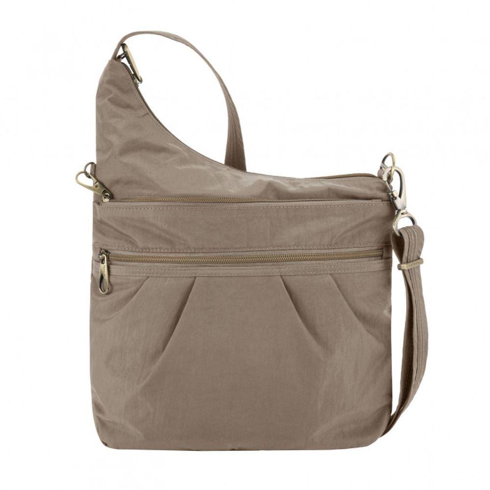 Travelon Anti-theft Signature 3 Compartment Cross Body Bag, Sable