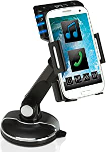 FlexSMART Dashboard Cradle Windshield Mount with FM Transmitter Power Adapter, 3.5mm and Micro-USB Charging Cables and by USA Gear - Works with Apple, HTC, Motorola, Samsung and More Smartphones