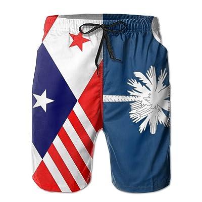 Usieis Carolina Flag Surfing Pocket Elastic Waist Men's Beach Pants Shorts Beach Shorts Swim Trunks
