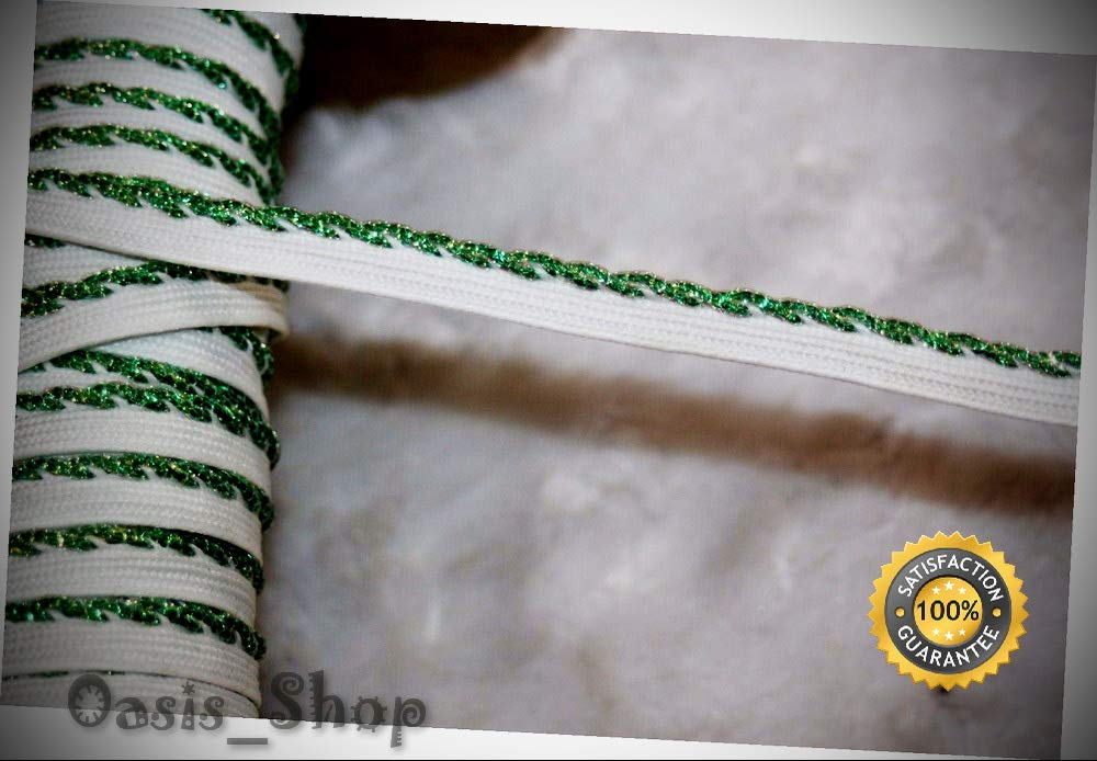 11.75 Yards Metallic Kelly Green White Lip Cord Piping Upholstery Trim 1/8'' 3/8'' - Ribbon Lyrical Dance Costumes, Sashes, Headbands by Oasis_Shop
