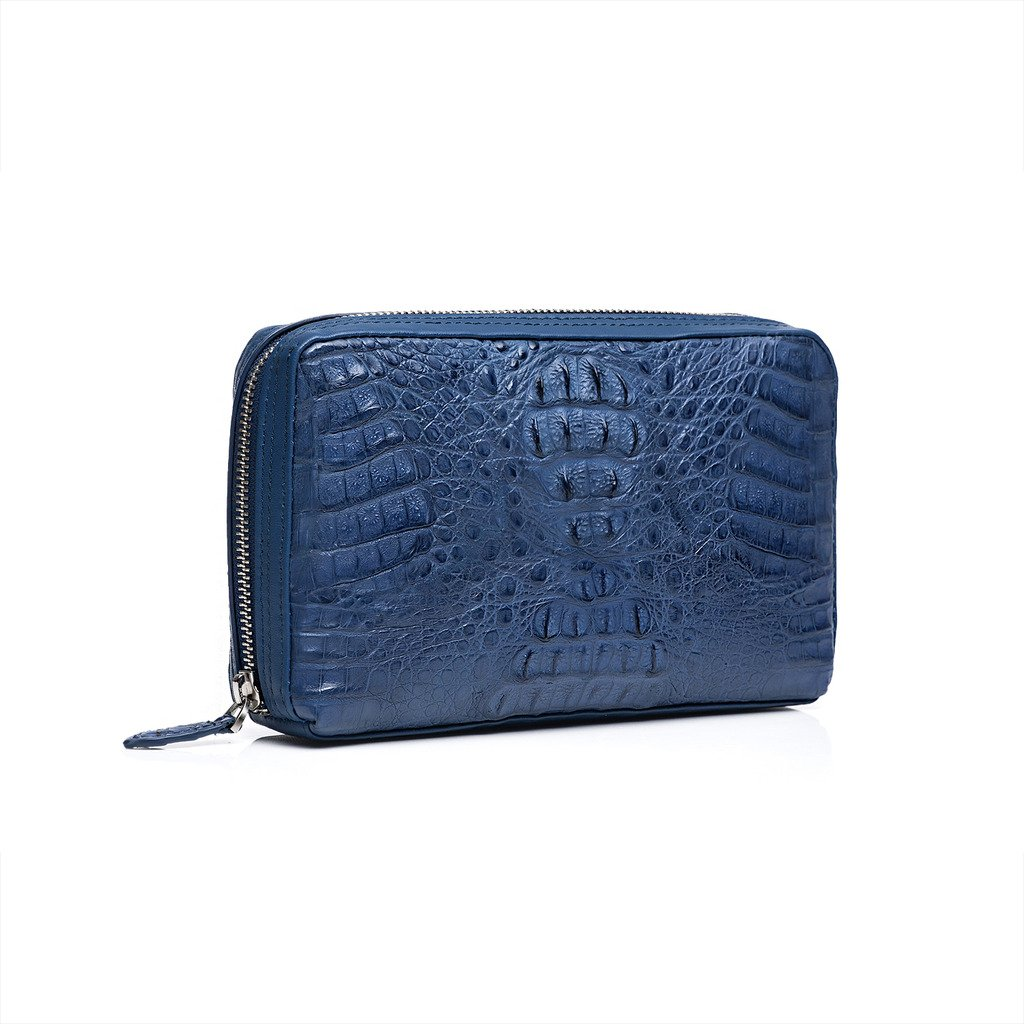 ZRO Men's Designer Portable Crocodile Leather Business Clutch Handbag BLUE