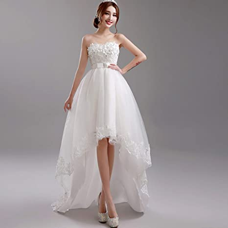 Vestiti Da Sposa Avorio.Yunding Abito Da Sposa Bianco Avorio Disegno Corto Anteriore E