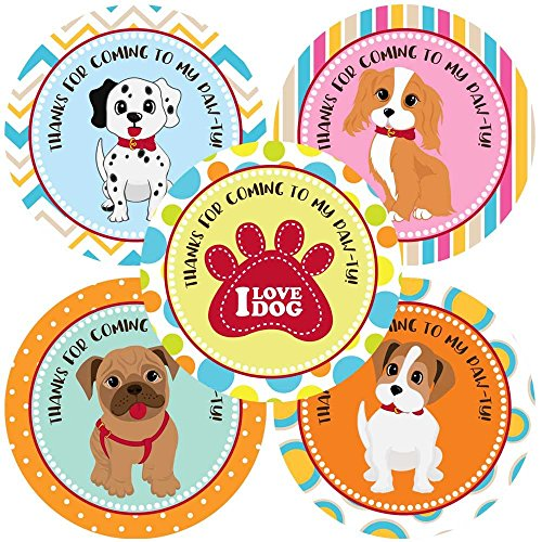 Variety Puppy Dog Thank You Sticker Labels - Canine Pet Paw Print Kids Party Favor Label - Set of 30 (Prints Terrier Paw)