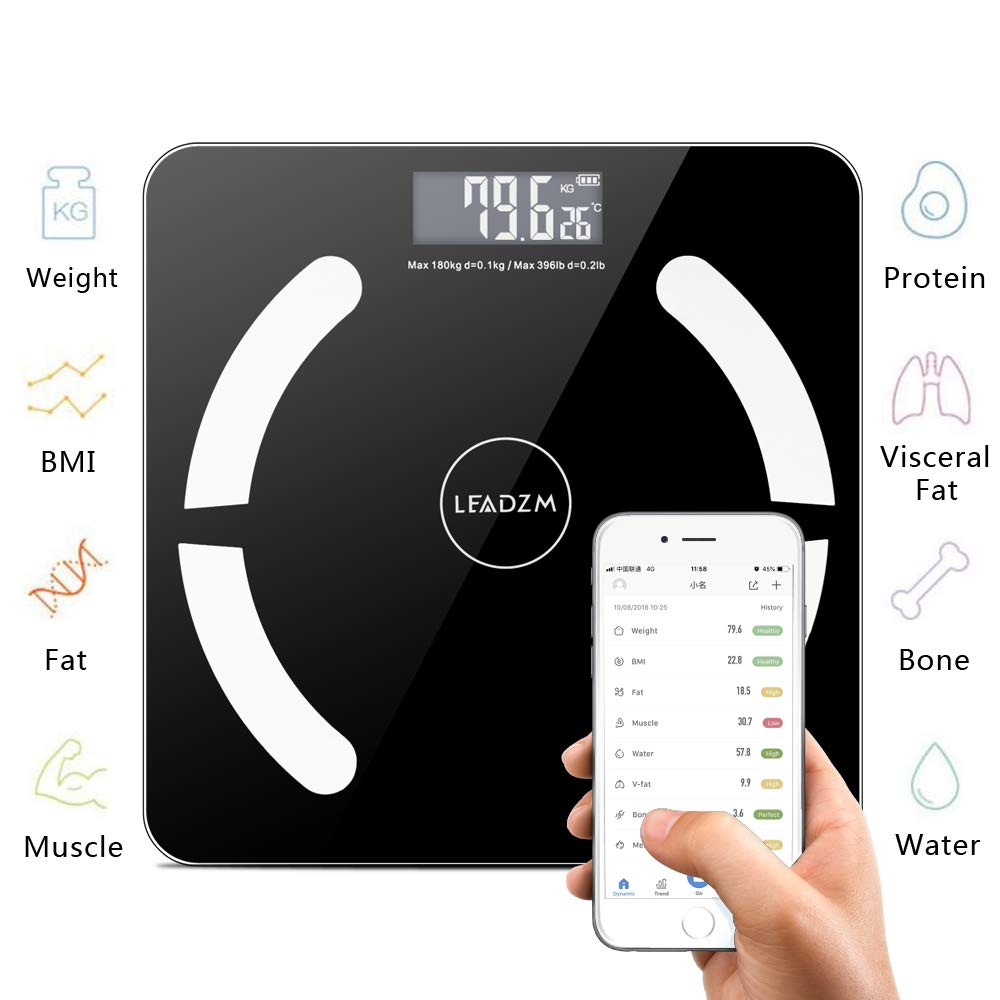 Quklei Bluetooth Weight Scale App Smart Wireless Digital Body Fat Scale Composition Analyzer with Smartphone App (US Stock)