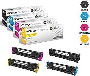 CS Compatible Toner Cartridge Replacement for HP CP2025 CC530A Black CC531A Cyan CC533A Magenta CC532A Yellow HP 304A COLOR LASERJET CM2320 CM2320NF CP2025 CP2025N CP2025X CP2020 CP2026 4 Color Set