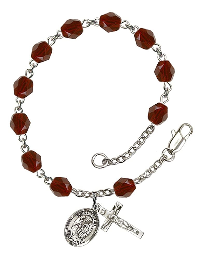 Fiacre medal Silver Plate Rosary Bracelet features 6mm Garnet Fire Polished beads Patron Saint Gardners The charm features a St The Crucifix measures 5//8 x 1//4