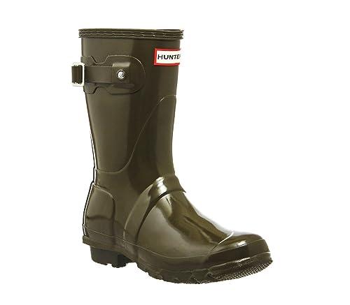 Hunter Womens Original Short Gloss Swamp Green Synthetic Boots 4 UK ... d3754e0d9b0