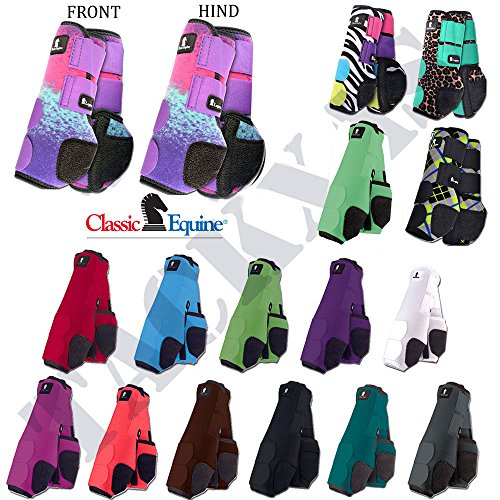 L- 4 PACK CLASSIC EQUINE LEGACY NEOPRENE HORSE FRONT REAR HIND LEG BOOTS TEAL