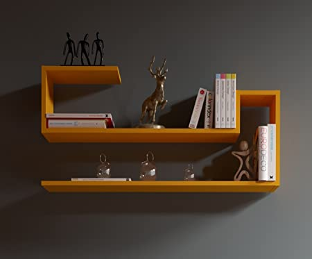 Wave Mensola Da Muro Mensola Parete Mensola Libreria Scaffale Pensile Per Studio Soggiorno In Design Moderno Arancione