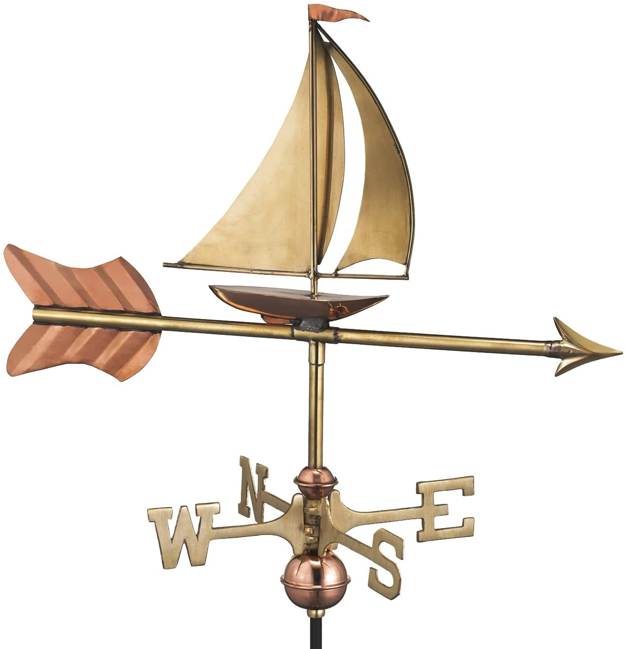 Good Directions 8803PR Sailboat Cottage Weathervane, Polished Copper with Roof Mount,Pure Copper
