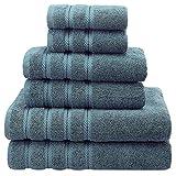 American Soft Linen 100% Cotton Turkish Bath Towel Set-of-6, Blue Deal