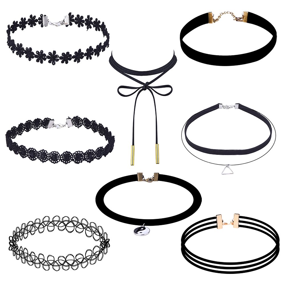 Women`s 8 Piece Black Choker N...