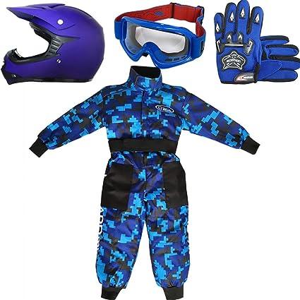 Leopard LEO-X15 Azul Mate Casco de Motocross para Niños + Gafas + Guantes + Camo Traje de Motocross para Niños, Traje S (5-6 Años), MattAzul - ...