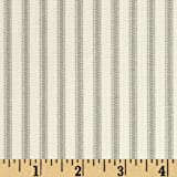 Vertical Ticking Stripe Ivory/Grey Fabric By The Yard