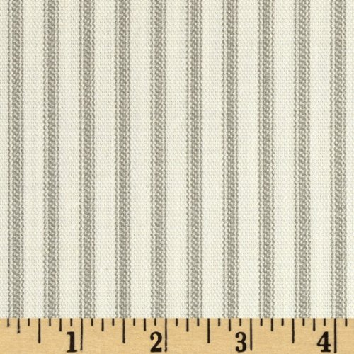 - Santee Print Works Vertical Ticking Stripe Ivory/Grey,