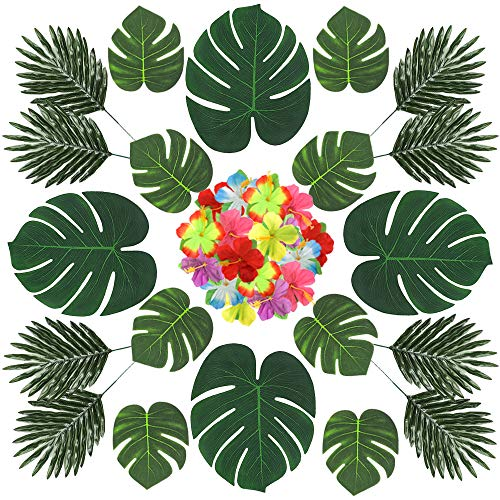 (CEWOR 60pcs 3 Kinds Artificial Palm Leaves Tropical Leaves and Hibiscus Flower Luau Party Ornament Set for Jungle Zoo Theme Birthday)