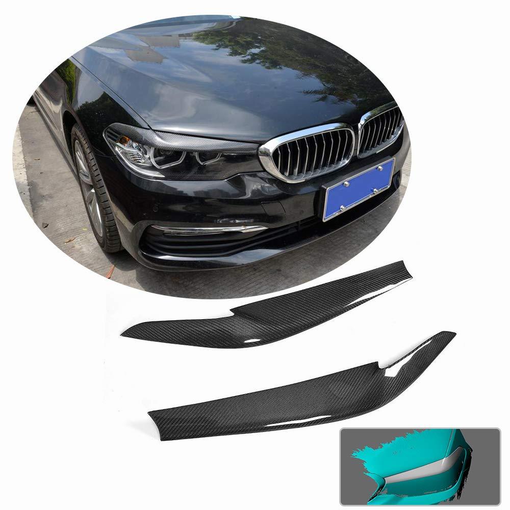 MCARCAR キット BMW 5シリーズ G30 G31 520i 530i 540i M550i F90 M5 2017 2018 2019 リアルドライカーボンファイバー フロントヘッドライランプ ヘッドライトカバー アイリッドライトアイブロートリム B07KYDW8RJ