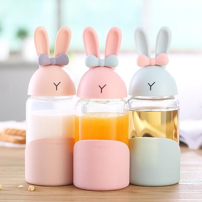 mit... BPA-frei 340 ml Glas-Wasserflasche JiAQI Kinder-Trinkflasche