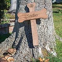 Personalized Name Dog Bone Memorial Cross - Wood Burial Grave Marker