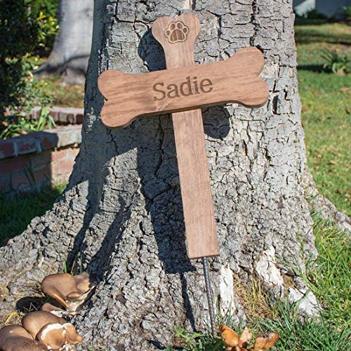 Personalized Name Dog Bone Memorial Cross - Wood Burial Grave Marker ()