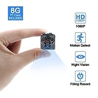 Mini Kamera,Tangmi 1080P 8GB Surveillance Kamera Full HD Tragbare Kleine Nanny Cam mit Nachtsichtgerät für Zuhause/Büro/Garten/Garage/Indoor/Outdoor Sicherheit Kamera