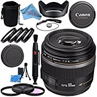 Canon EF-S 60mm f/2.8 Macro USM Lens 0284B002 + 52mm 3 Piece Filter Kit + 52mm Macro Close Up Kit + Lens Cleaning Kit + Lens Pen Cleaner + 52mm Tulip Lens Hood Bundle