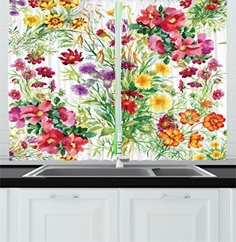 Ambesonne Flower Decor Kitchen Curtains, Floral Decor Garden Like Romantic Themed Image with Leaves Rose Daisies Image, Window Drapes 2 Panels Set for Kitchen Cafe, 55W X 39L Inches, Multicolor