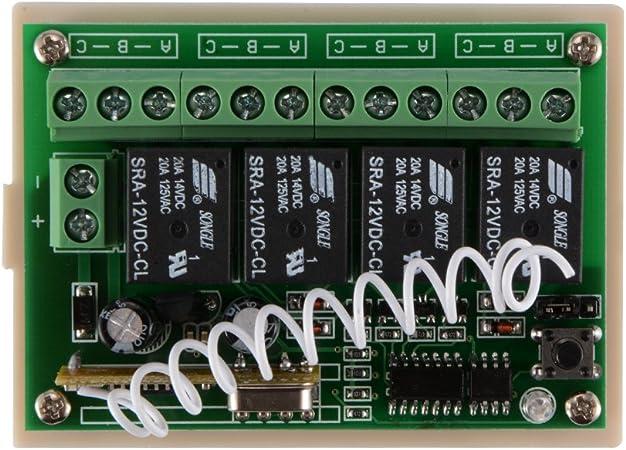Module de relais avec 2 t/él/écommandes en m/étal T/él/écommande multifonction sans fil 12 V 6 canaux avec interrupteur DIP