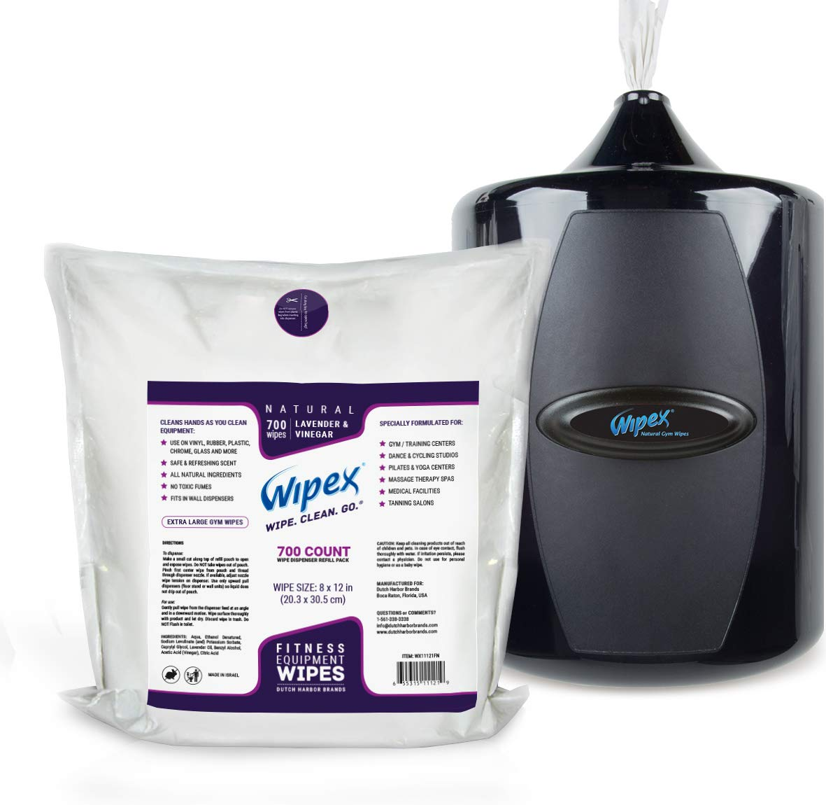Wipex Gym & Fitness Wipes Refill Pack 700 Large Natural Wipes With Vinegar & Lavender Oil (1 Refill) by Wipex (Image #2)