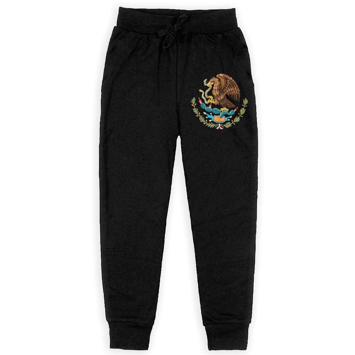 Mexico Eagle Flag Boys Sweatpants,Joggers Sport Training Pants Trousers Black