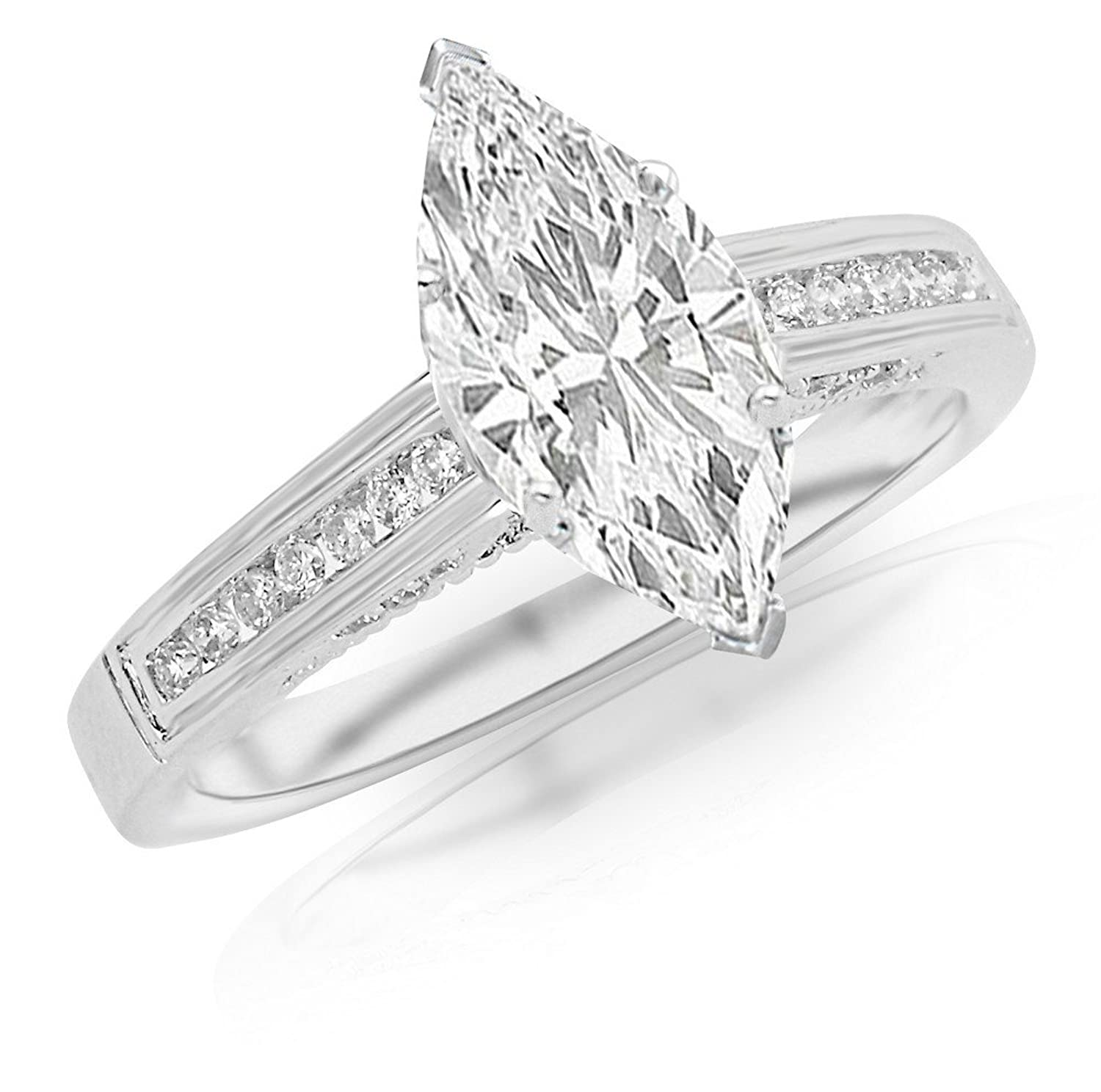0.95 Ctw 14K White Gold GIA Certified Marquise Cut Channel Set Round Diamond Engagement Ring, 0.75 Ct G-H SI1-SI2 Center