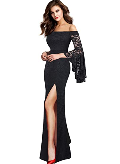 0a5bd5d91d066 VFSHOW Womens Off Shoulder Bell Sleeve High Slit Formal Evening Party Maxi  Dress