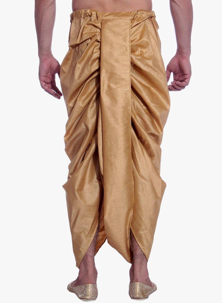 Royal Kurta Men's Art Silk Fine Quality Ready To Wear Dhoti pants Free Size Brown