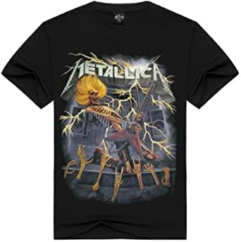 Camiseta metálica - Camisa - Camisa - Hombre - niño - Manga Corta - Rock - Punk - Duro - Logo - Banda - Guitarra eléctrica - Esqueleto - Color Negro