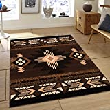 Cheap Allstar 8 X 10 Chocolate with Brown Woven Native American Runner Area Rug (7′ 10″ X 10′ 2″)