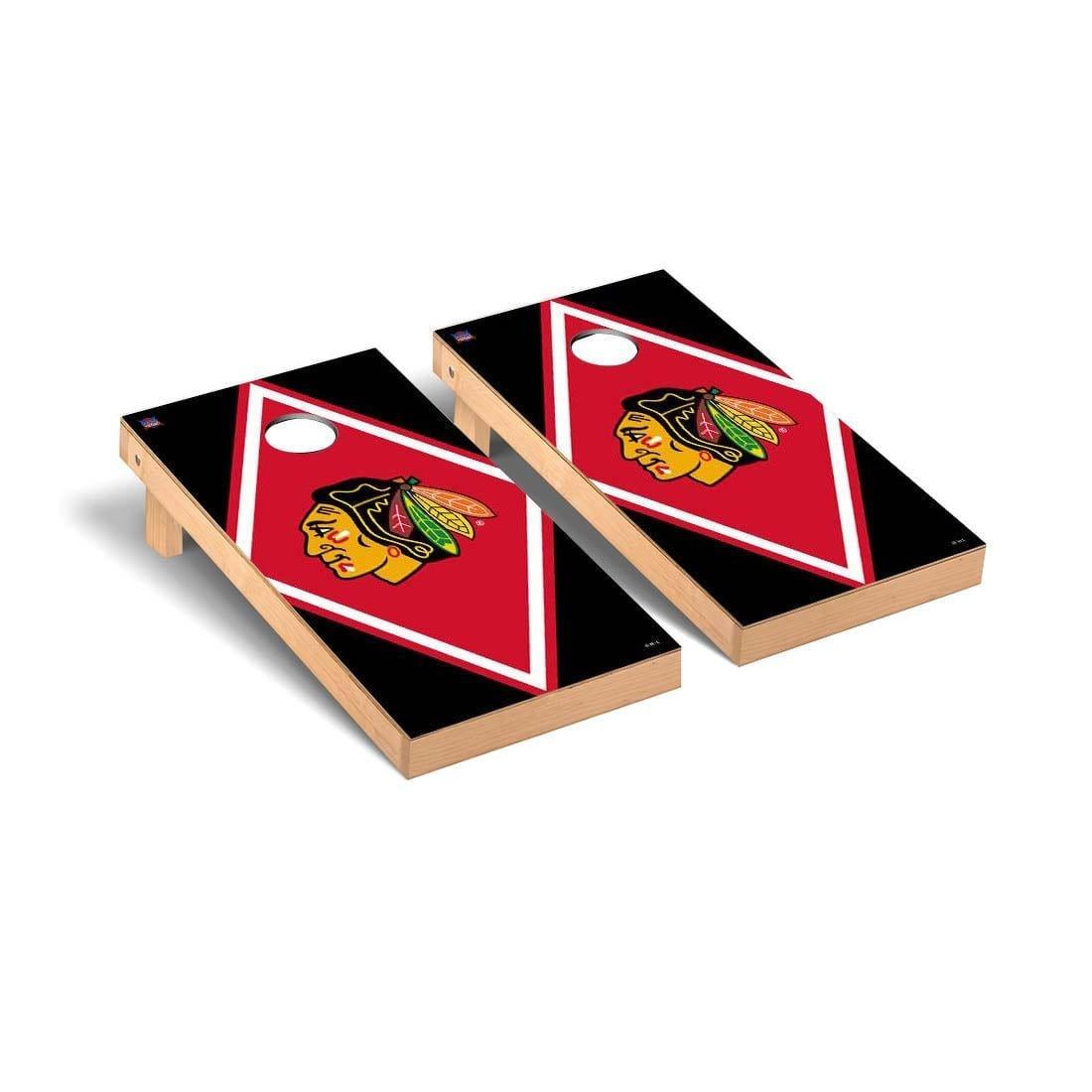Chicago 黒hawks NHL Regulation Cornhole Gameセットダイヤモンドバージョン