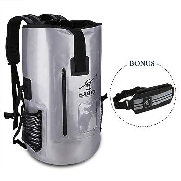 SARKI 30L Waterproof Backpack-Dry Bag with Zipper Pocket and Padded  Shoulder Straps - Large 346608fbf90d1