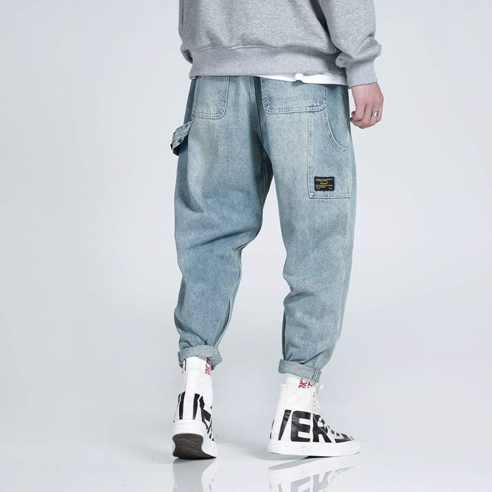 EVEORSSRA Jeanshosen Herbst Street Tide Marke Jeans Männer Tasche Dekoration Trend Freizeit Student Fuß Lange Hosen