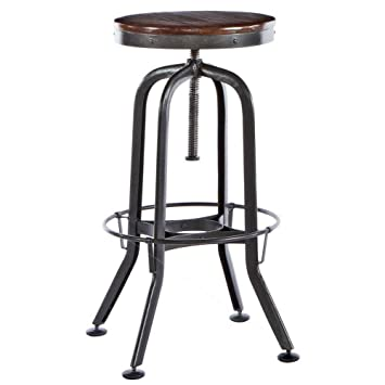 Sitcom Furniture Vintage Bar Stool In Distressed Solid Asian Oak
