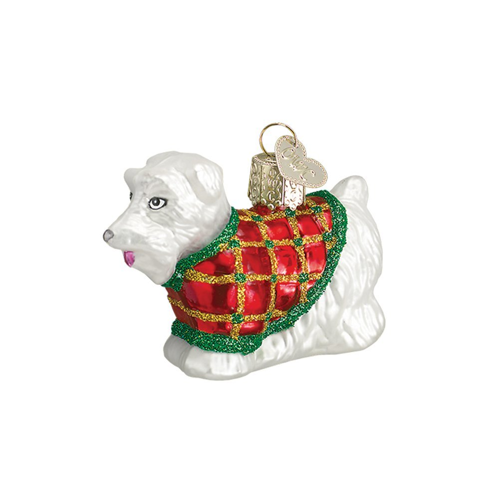 Festive Scottish Terrier White Glitter Glass Christmas Ornament